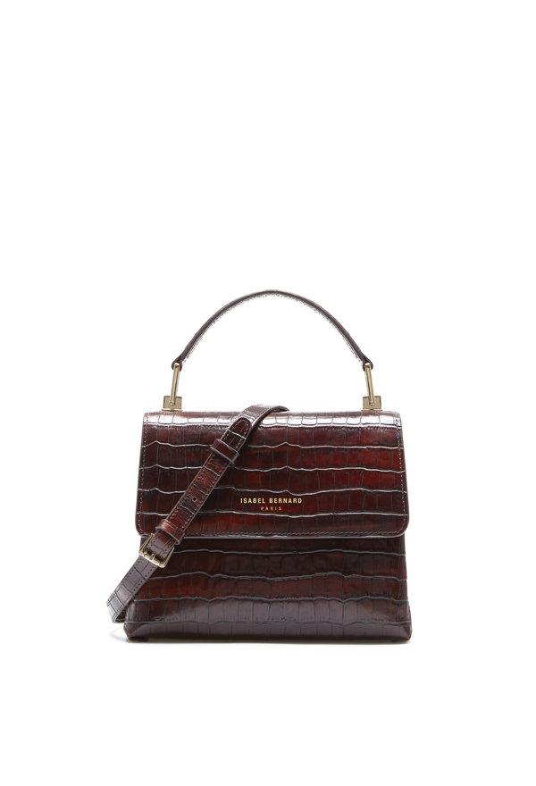 Isabel Bernard Femme Forte Heline tabaca croco calfskin leather handbag