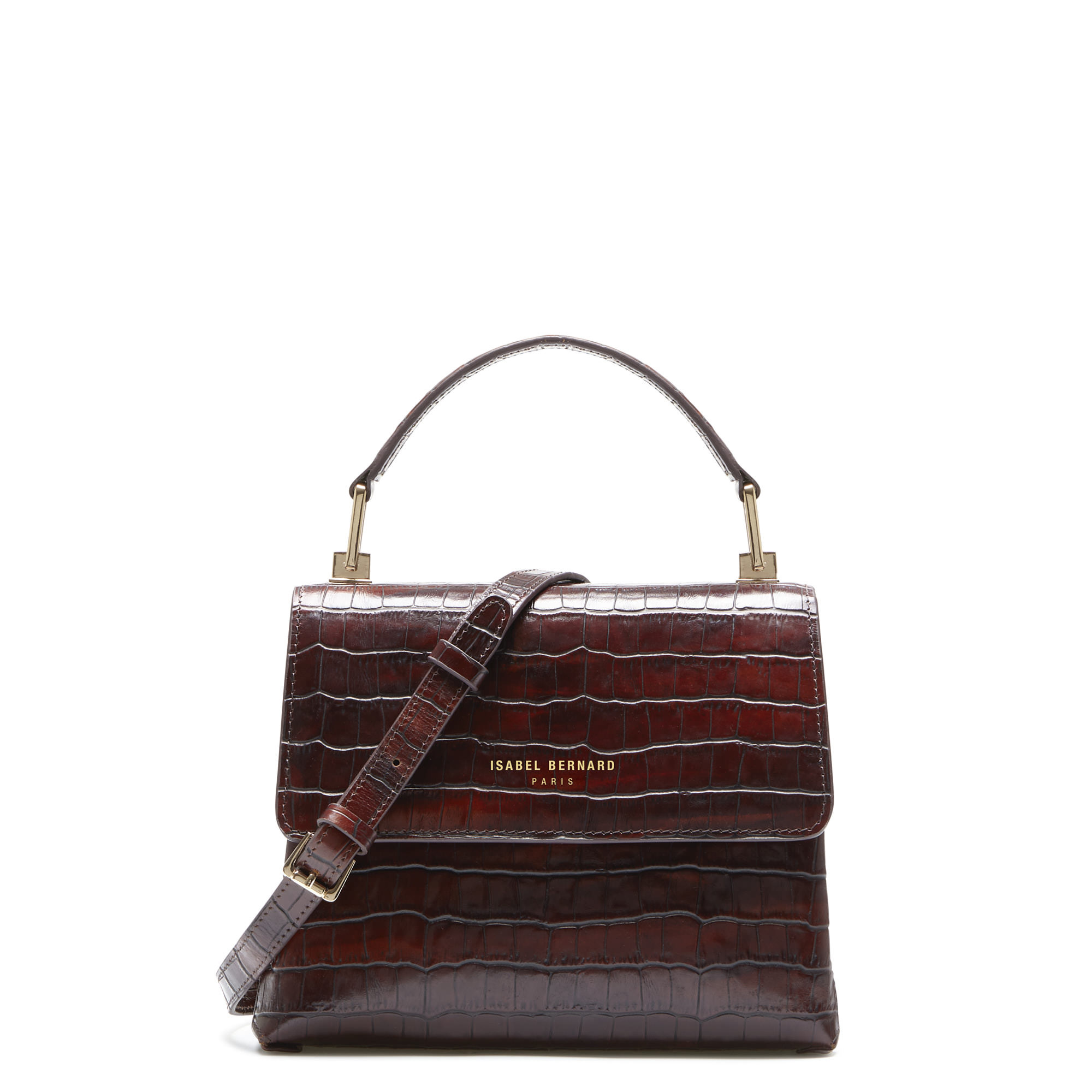 Isabel Bernard Femme Forte Heline croco brown calfskin leather handbag