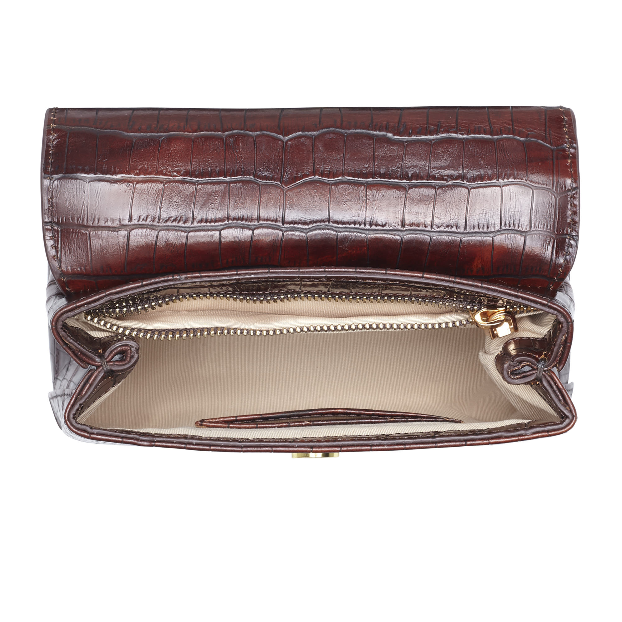 Isabel Bernard Femme Forte Heline croco brun läder handväska av kalvskinn