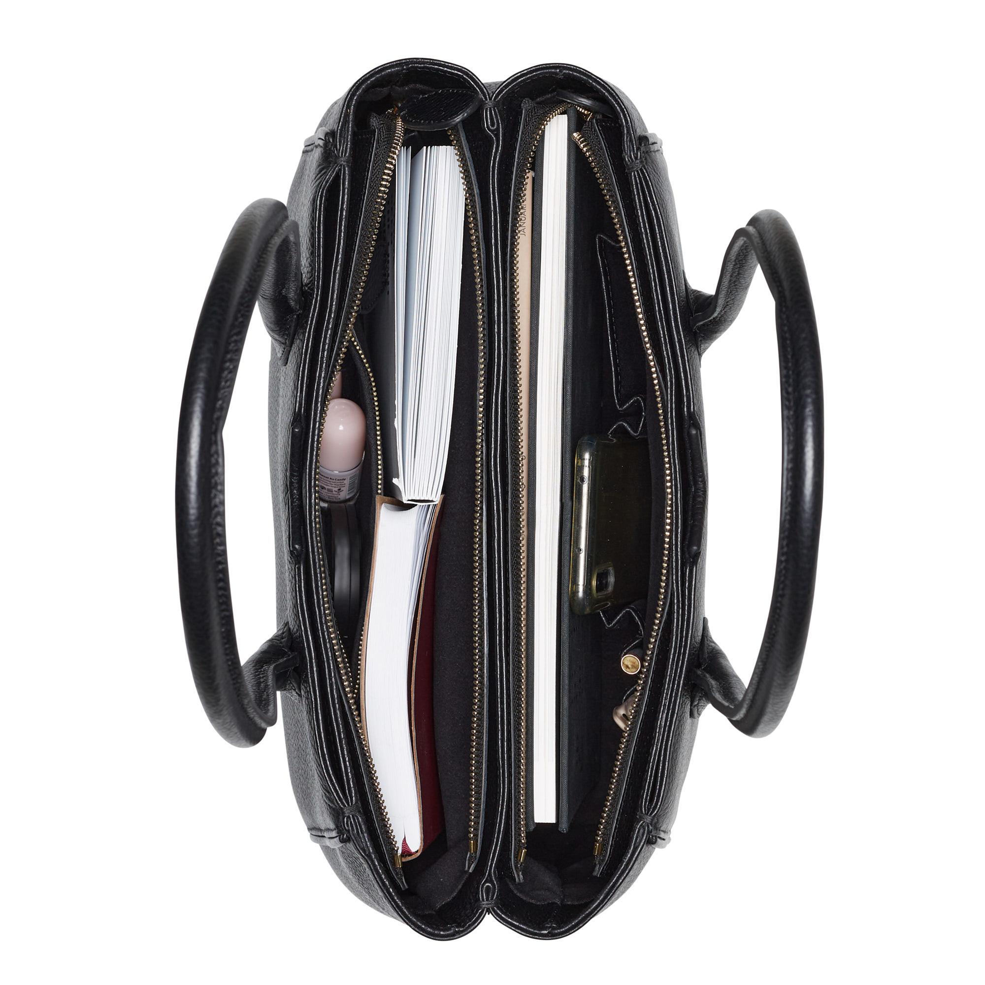 Isabel Bernard Honoré Cloe sort læder håndtaske lavet af kalveskind