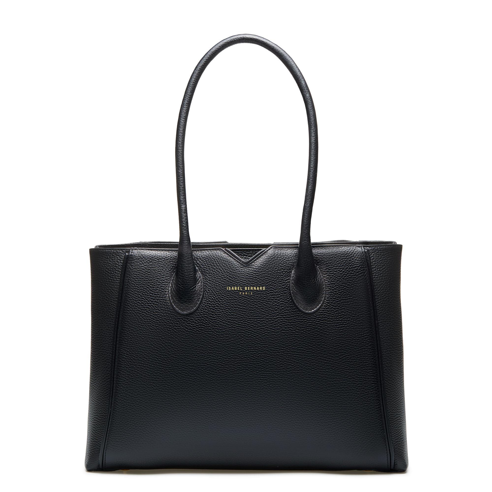 Isabel Bernard Honoré Cloe svart läder handväska av kalvskinn