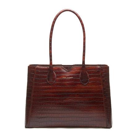 Isabel Bernard Honoré Cloe croco brun læder håndtaske lavet af kalveskind