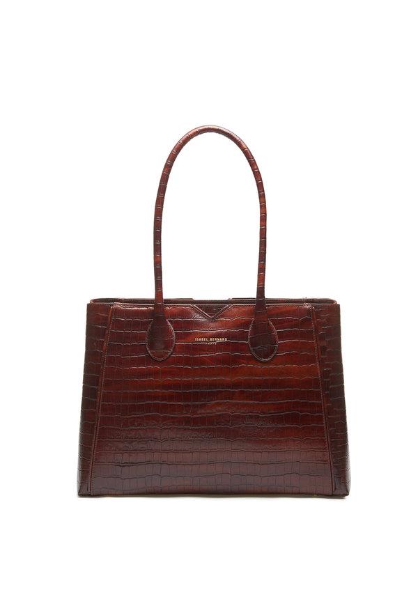 Isabel Bernard Honoré Cloe croco brun läderhandväska i kalvläder