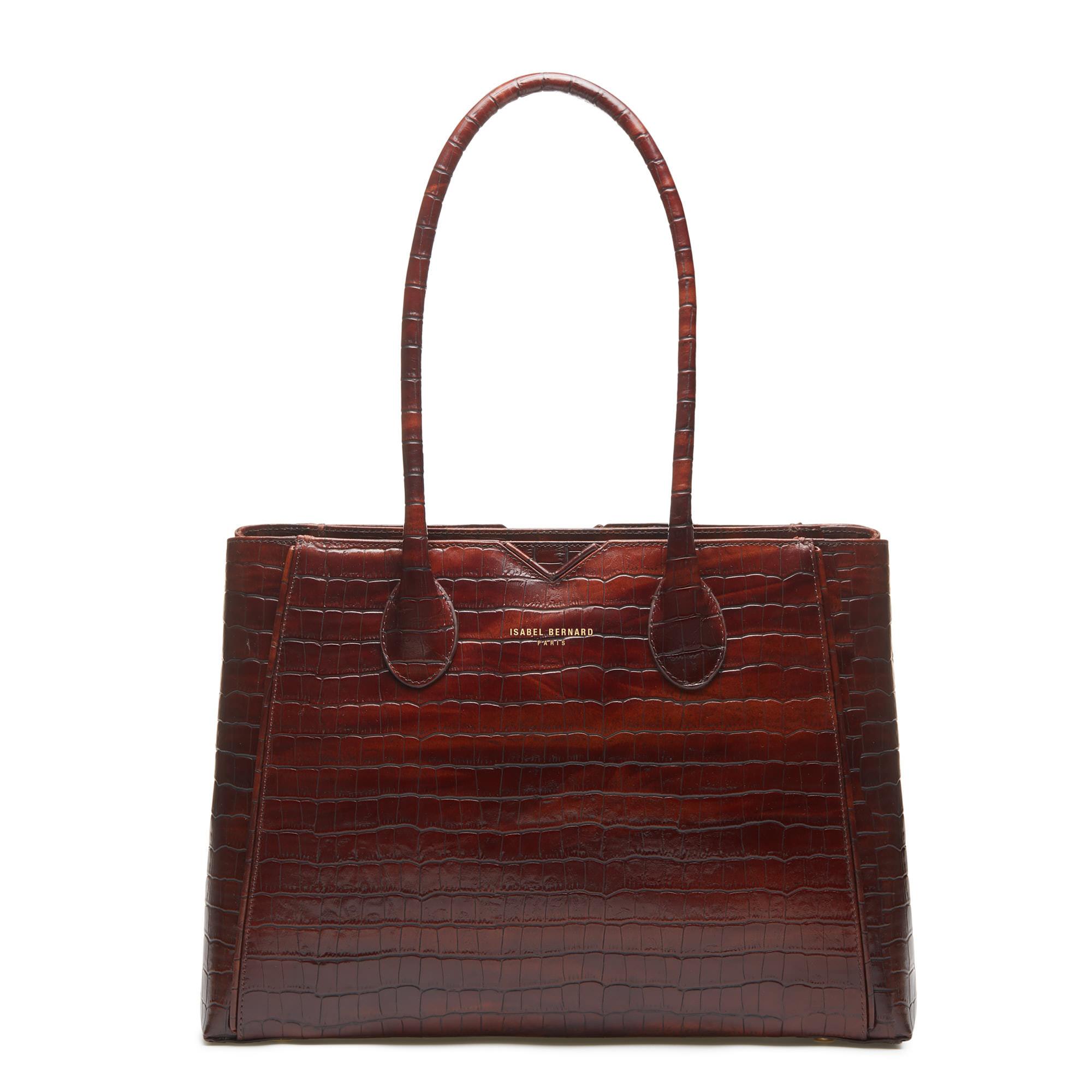 Isabel Bernard Honoré Cloe croco brown calfskin leather handbag