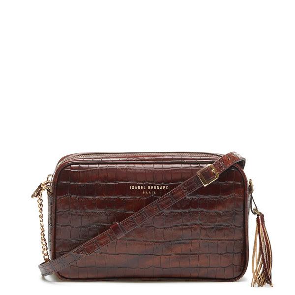 Isabel Bernard Honoré Luciecroco brun læder crossbody taske lavet af kalveskind