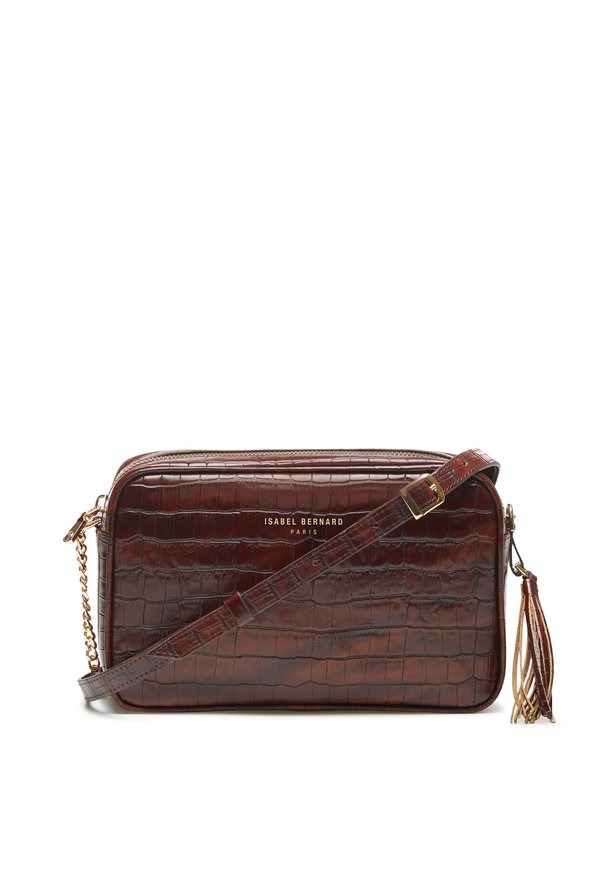 Isabel Bernard Honoré Lucie croco brown calfskin leather crossbody bag
