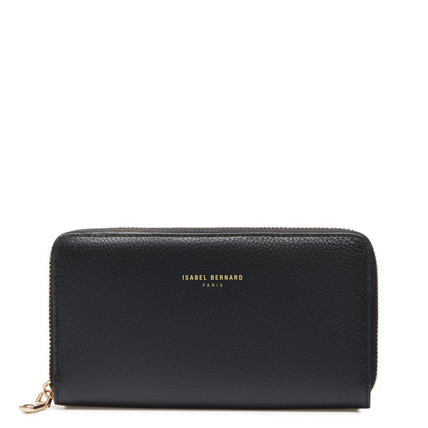 Isabel Bernard Honoré Léa black calfskin leather zipper wallet