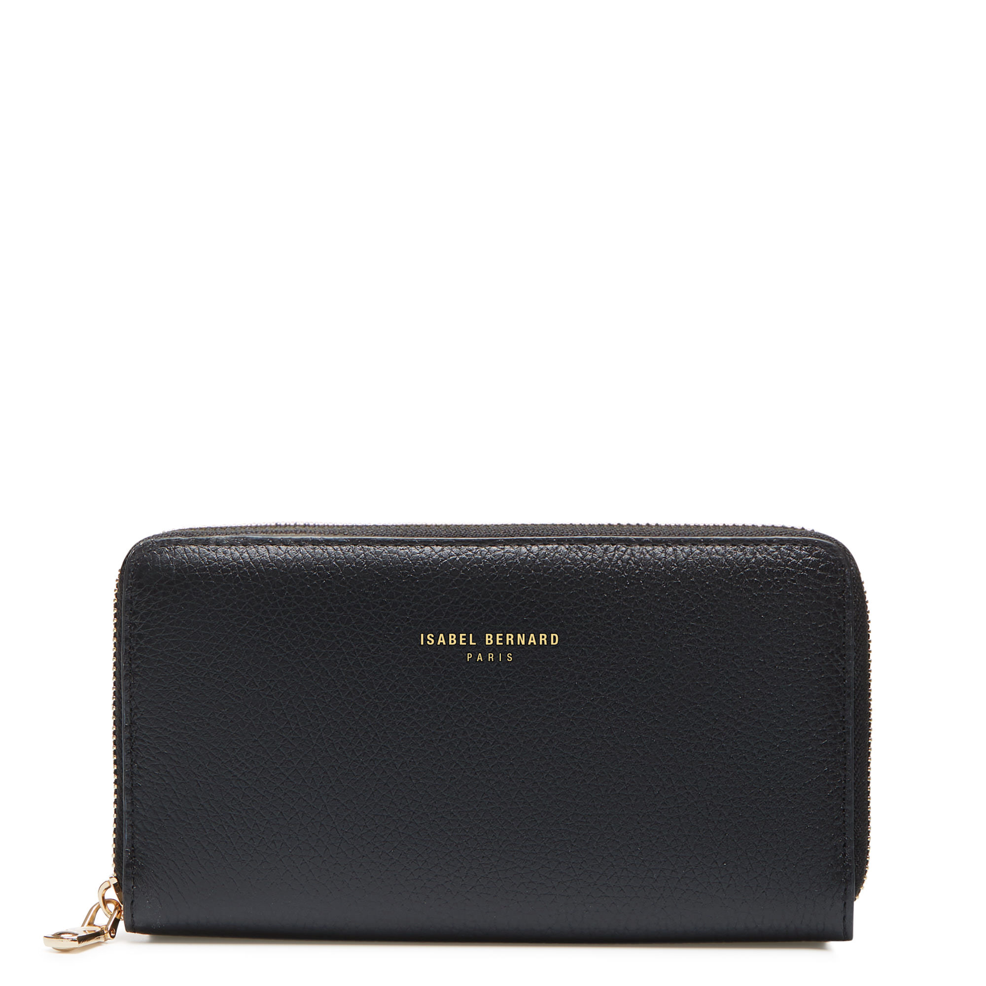 Isabel Bernard Honoré Léa black calfskin leather zipper wallet