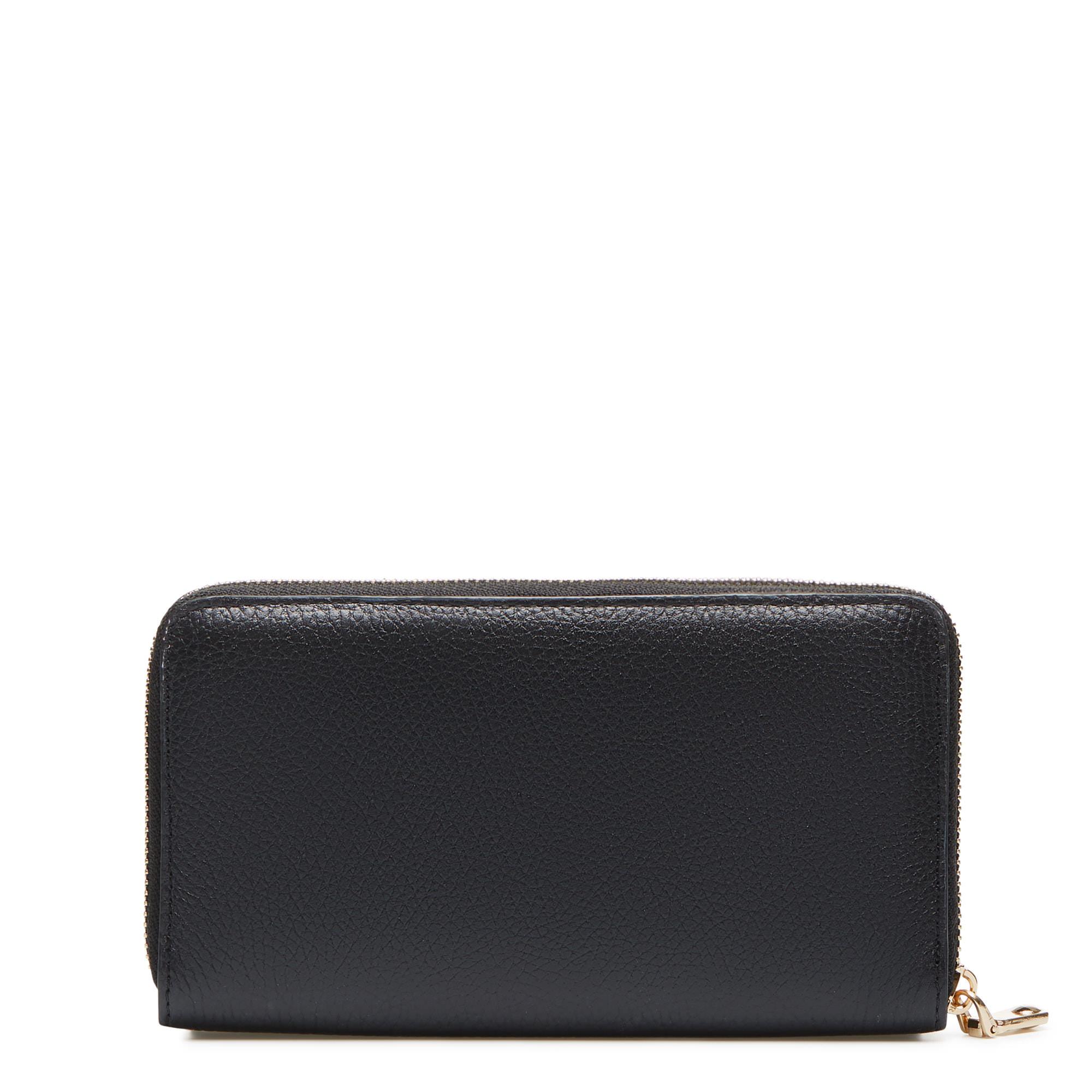 Isabel Bernard Honoré Léa svart läder plånbok med dragkedja av kalvskinn