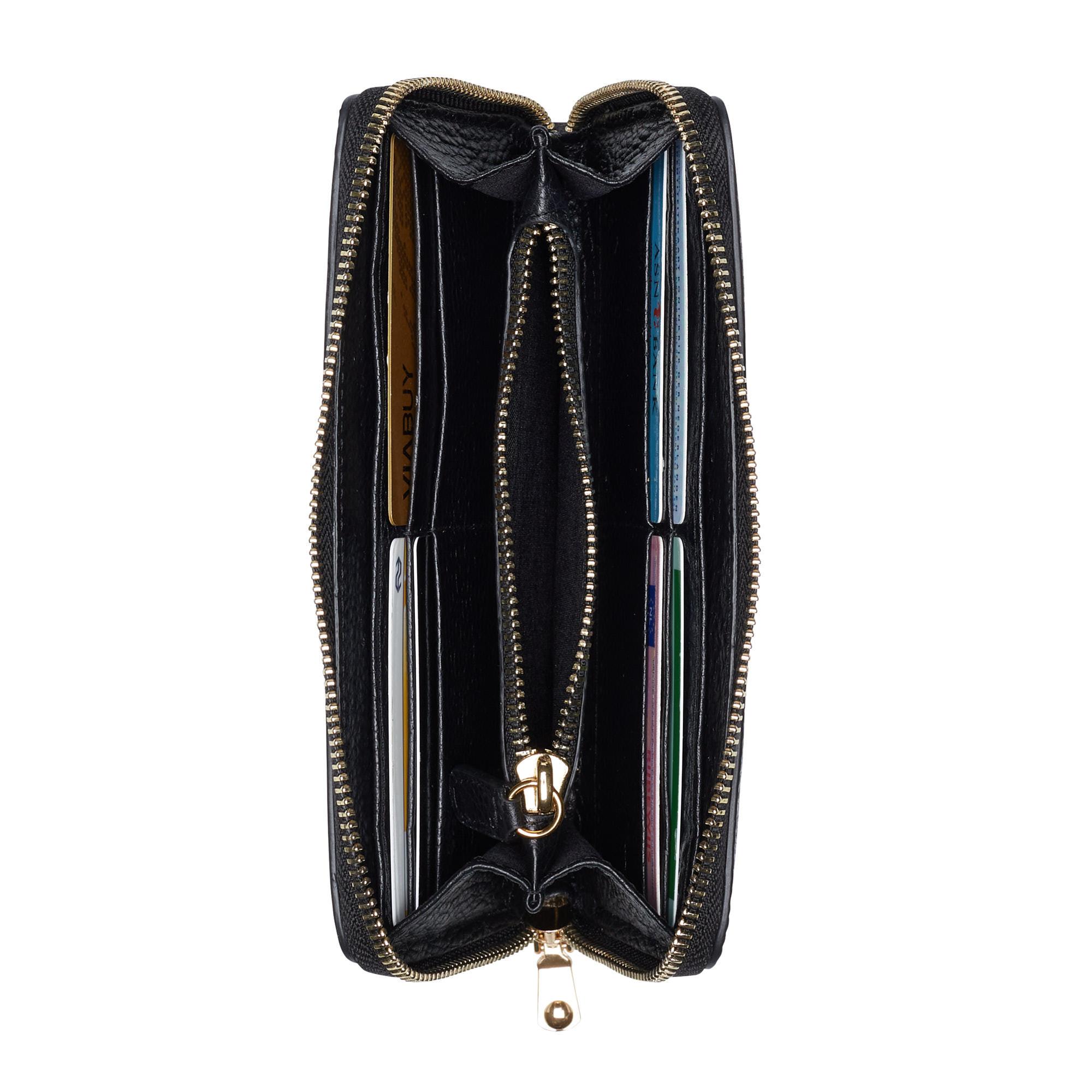 Isabel Bernard Honoré Léa sort læder lynlås punge lavet af kalveskind