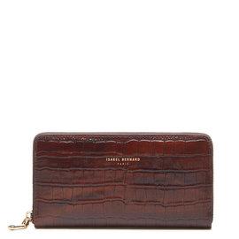 Isabel Bernard Honoré Léa kroko braune Brieftasche mit Reißverschluss aus Kalbsleder