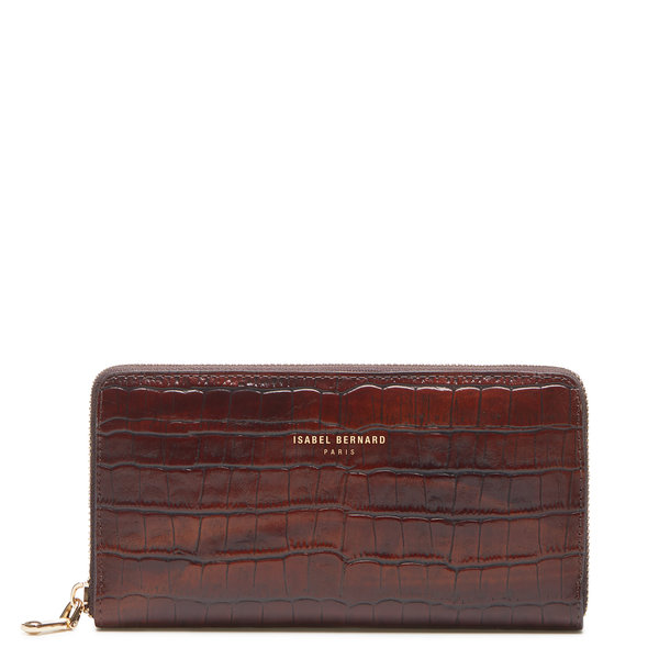 Isabel Bernard Honoré Léa croco brown calfskin leather zipper wallet