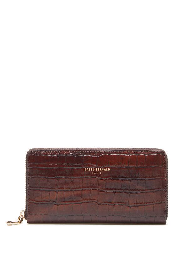 Isabel Bernard Honoré Léa croco brun läderplånbok i kalvläder med blixtlås