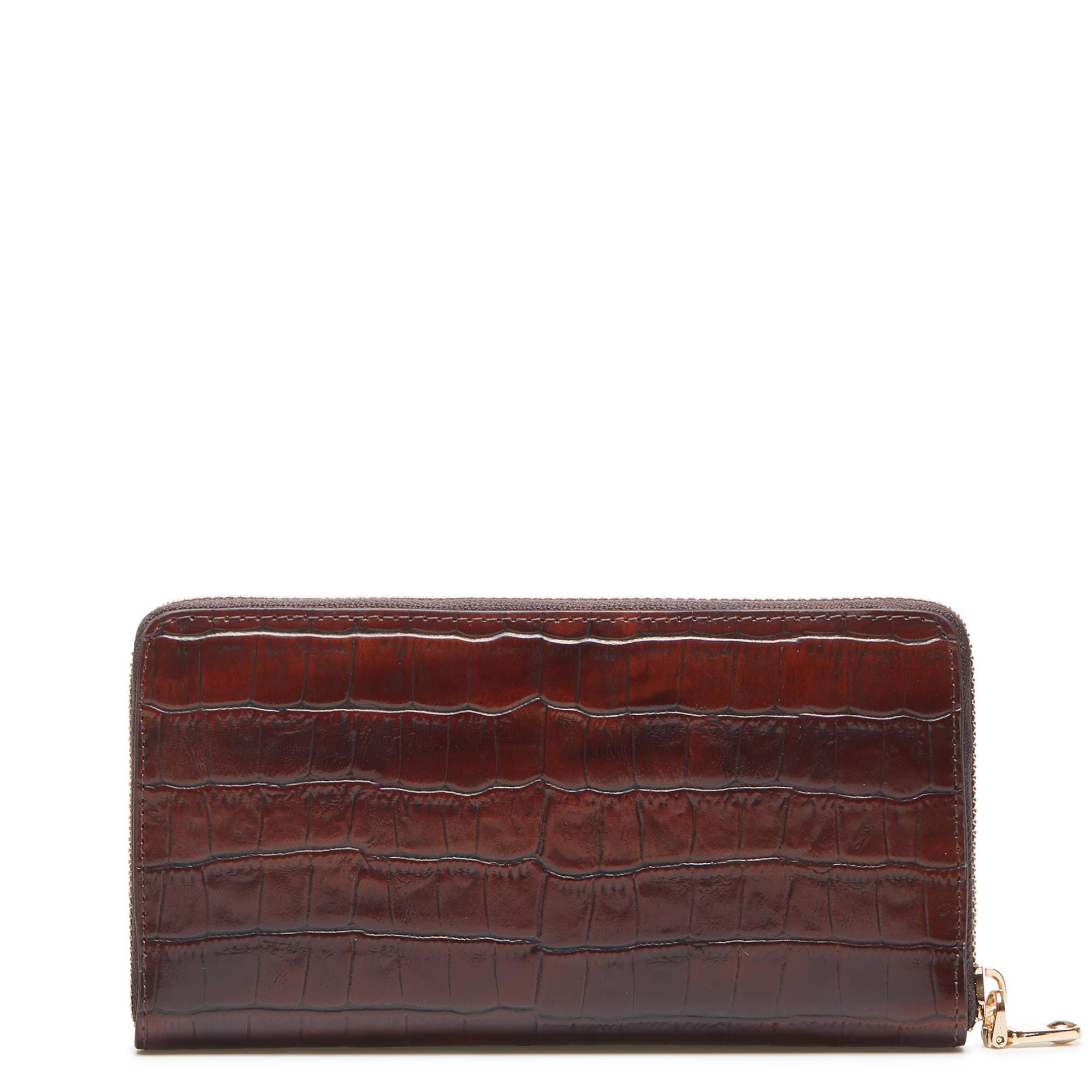 Isabel Bernard Honoré Léa croco brun läder plånbok med dragkedja av kalvskinn