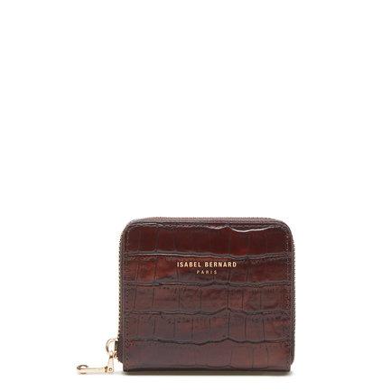 Isabel Bernard Honoré Jules croco brun läder plånbok med dragkedja av kalvskinn
