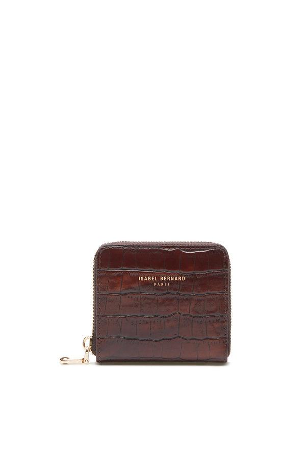 Isabel Bernard Honoré Jules kroko braune Brieftasche mit Reißverschluss aus Kalbsleder