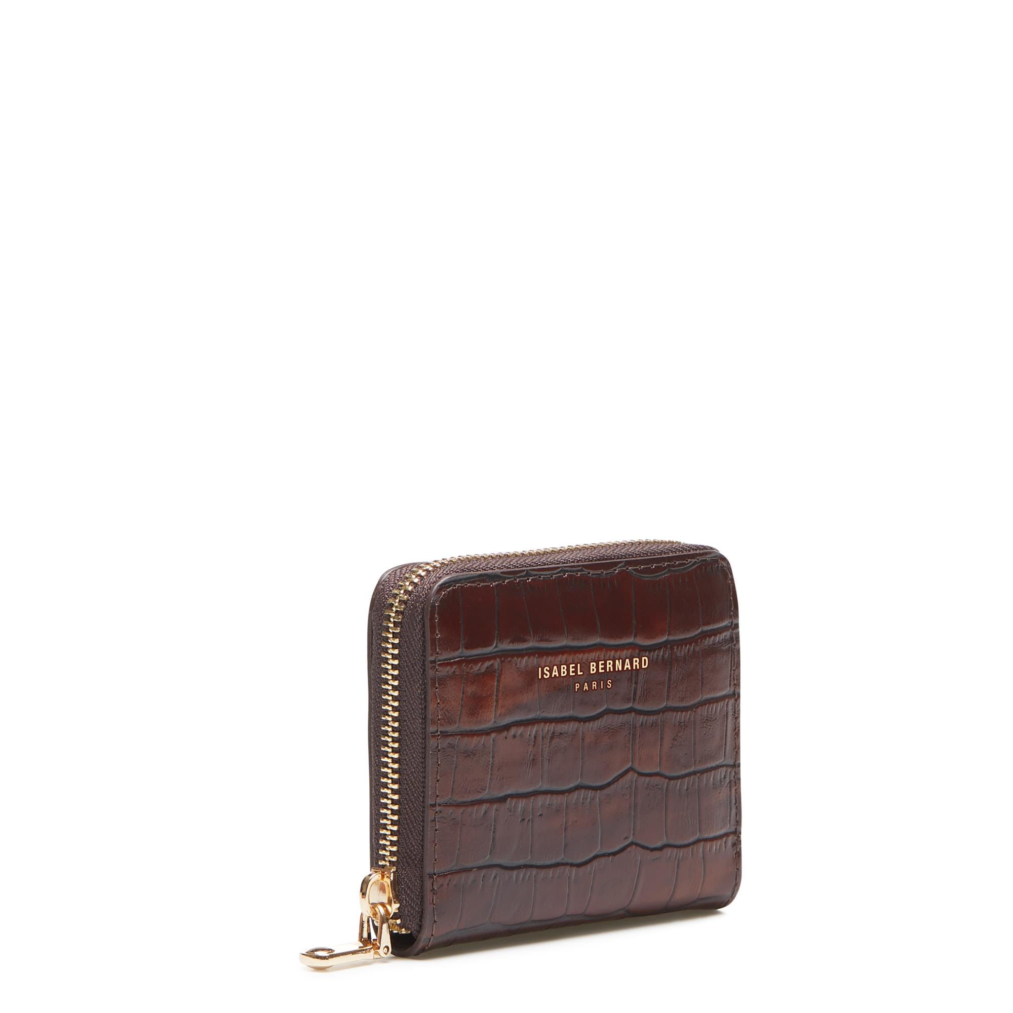 Isabel Bernard Honoré Jules kroko braune Reißverschluss-Portemonnaie aus Kalbsleder