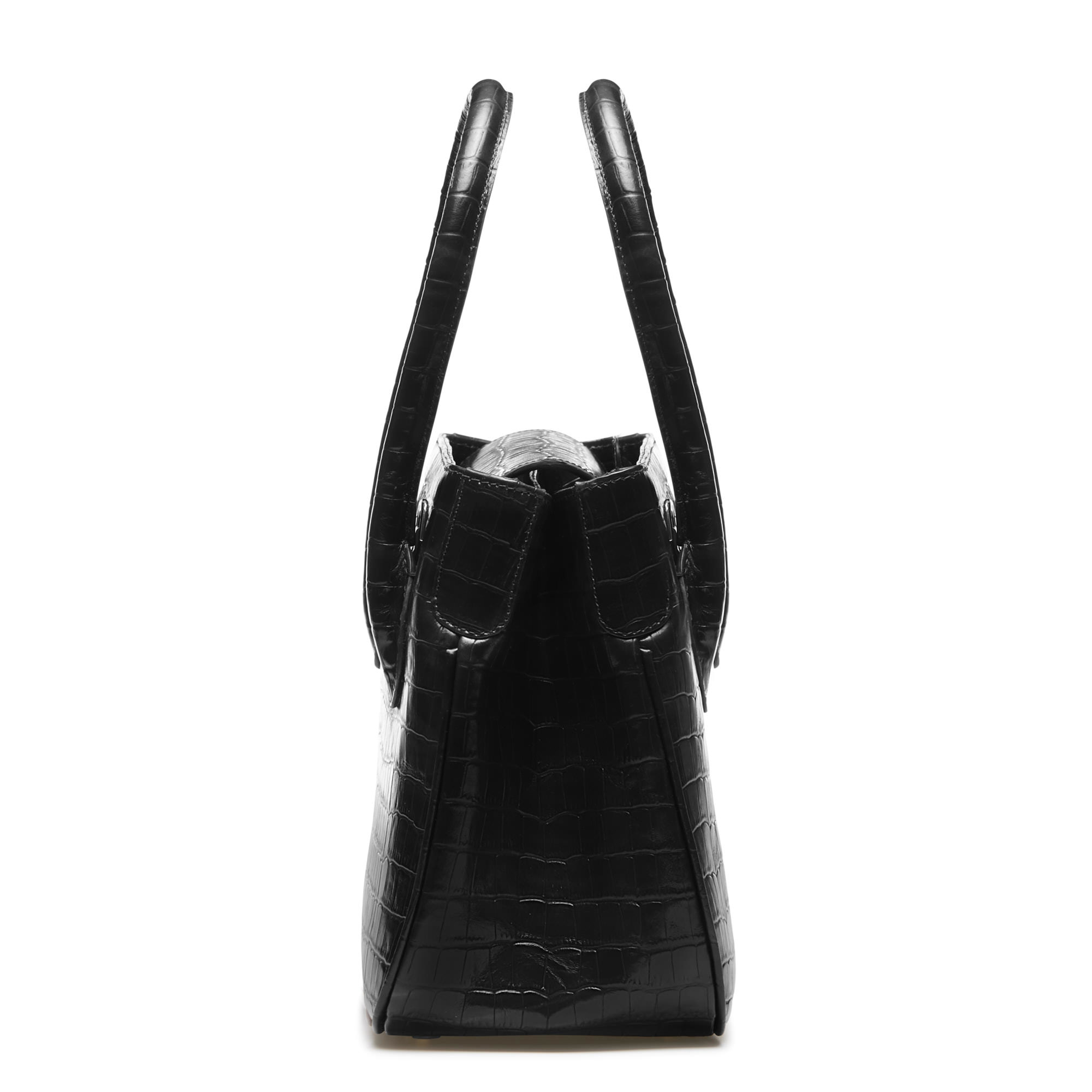Isabel Bernard Honoré Ines croco black calfskin leather handbag