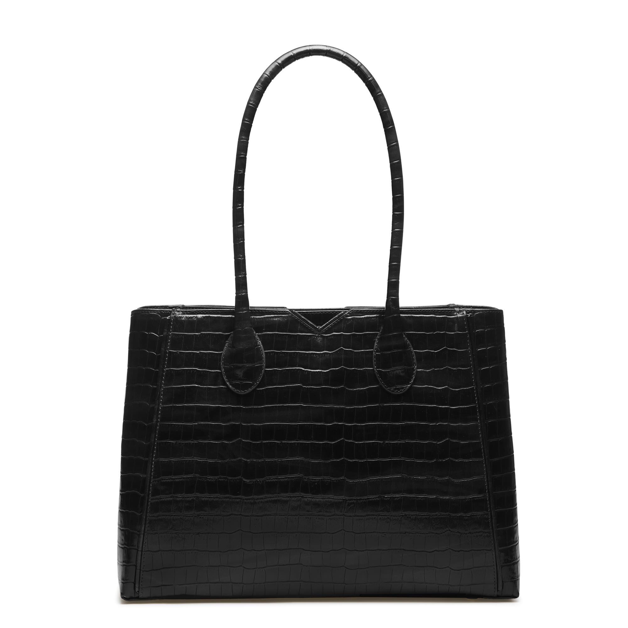 Isabel Bernard Honoré Cloe croco black calfskin leather handbag