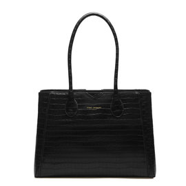 Isabel Bernard Honoré Cloe croco brown calfskin leather handbag