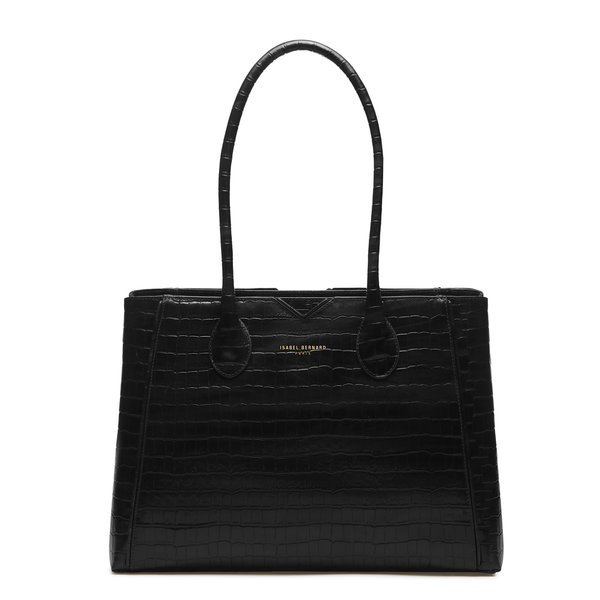 Isabel Bernard Honoré Cloe croco black calfskin leather handbag