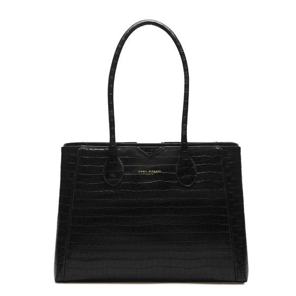 Isabel Bernard Honoré Cloe kroko schwarze Handtasche aus Kalbsleder