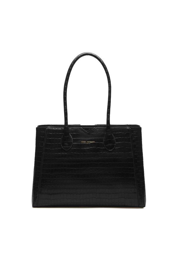 Isabel Bernard Honoré Cloe croco svart läderhandväska i kalvläder
