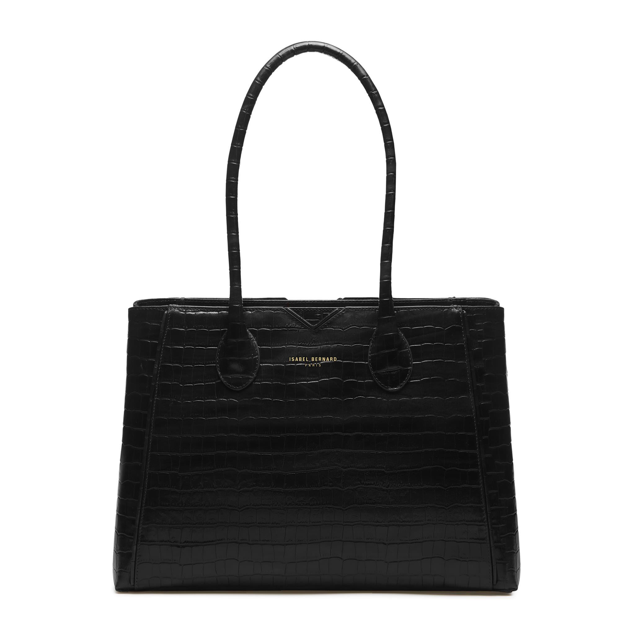Isabel Bernard Honoré Cloe croco sort læder håndtaske lavet af kalveskind