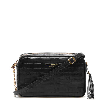 Isabel Bernard Honoré Lucie croco black calfskin leather crossbody bag
