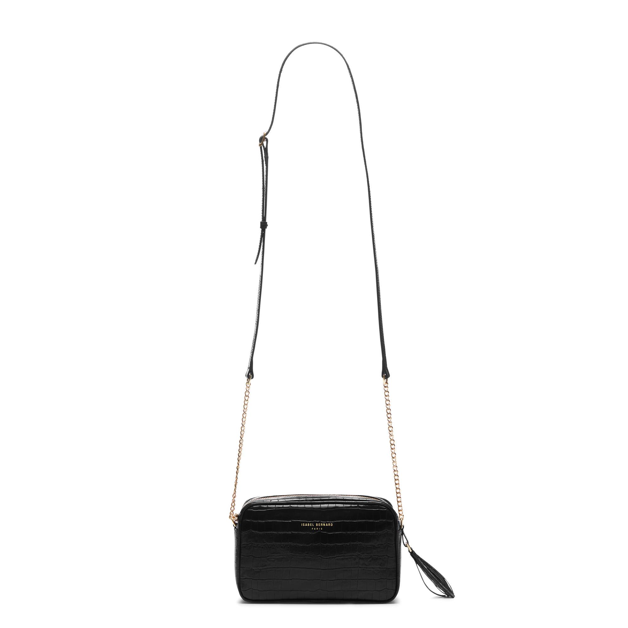 Isabel Bernard Honoré Lucie croco svart läder crossbody väska av kalvskinn