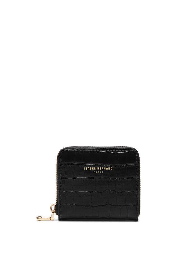 Isabel Bernard Honoré Jules croco svart läderplånbok i kalvläder med blixtlås