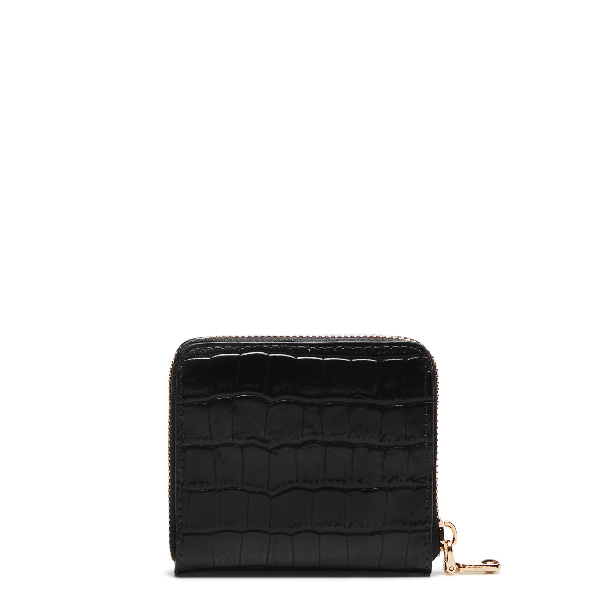 Isabel Bernard Honoré Jules portefeuille zippé en cuir de veau noir croco