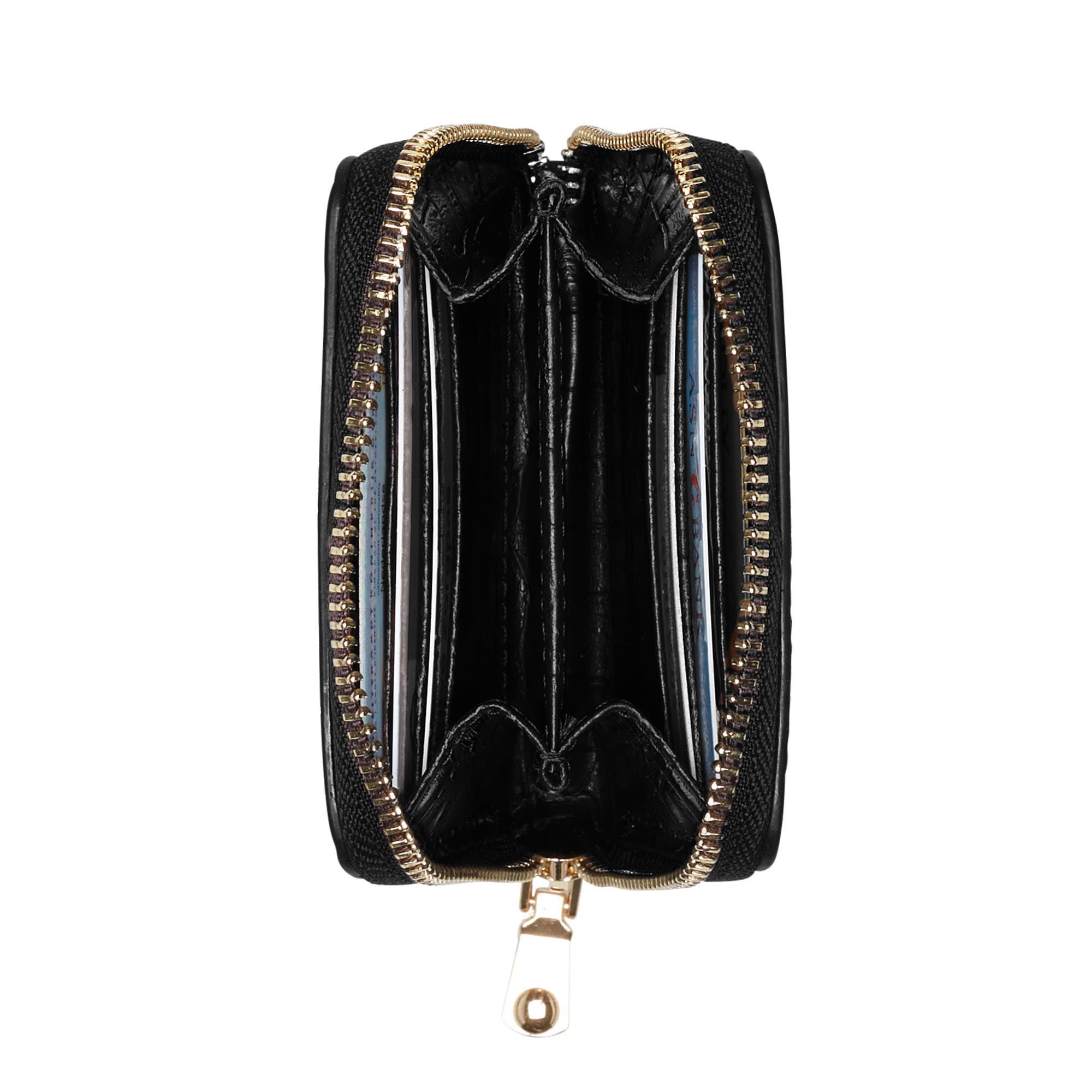 Isabel Bernard Honoré Jules croco svart läder plånbok med dragkedja av kalvskinn