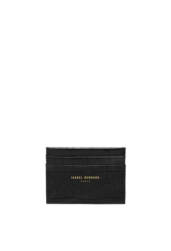 Isabel Bernard Honoré Eve croco black calfskin leather card holder
