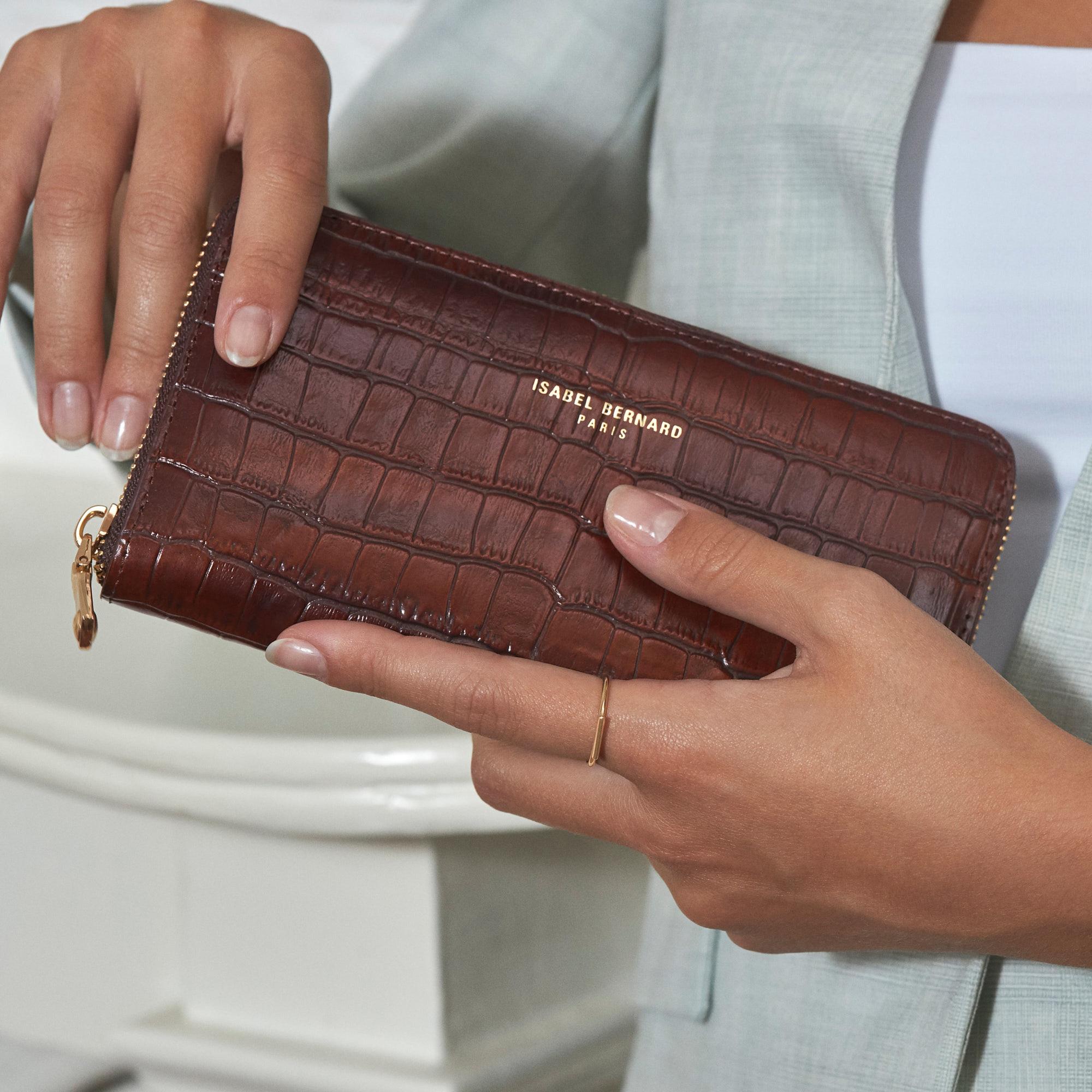 Isabel Bernard Honoré Léa croco brown calfskin leather zipper wallet