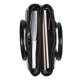 Isabel Bernard Honoré Cloe kroko schwarz Handtasche aus Kalbsleder