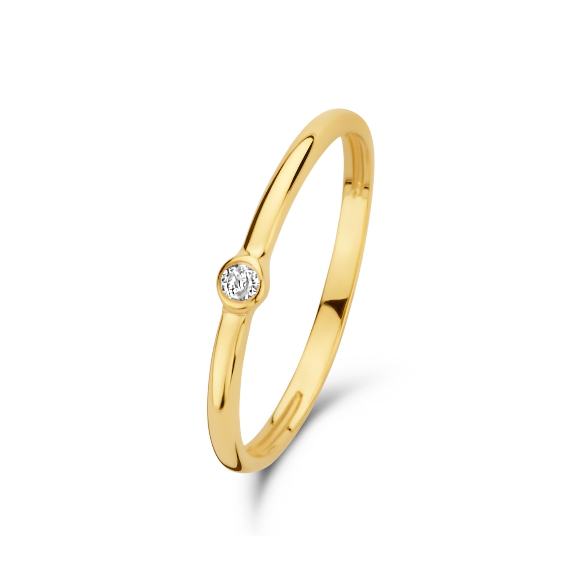 Isabel Bernard Asterope Solitary 14 karaat gouden stacking ring met zirkonia