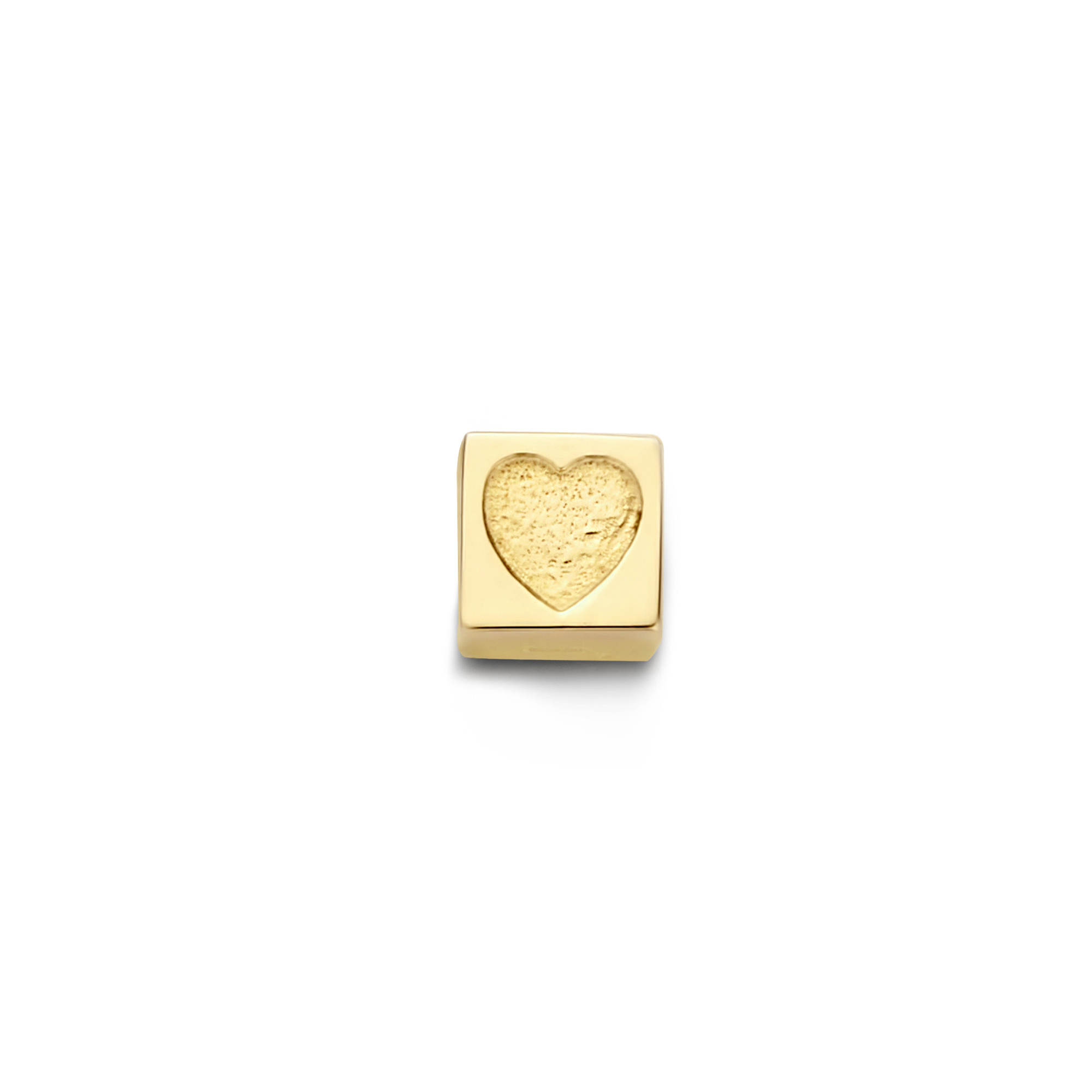 Isabel Bernard Le Carré Felie 14 karaat gouden kubus bedel met hartje