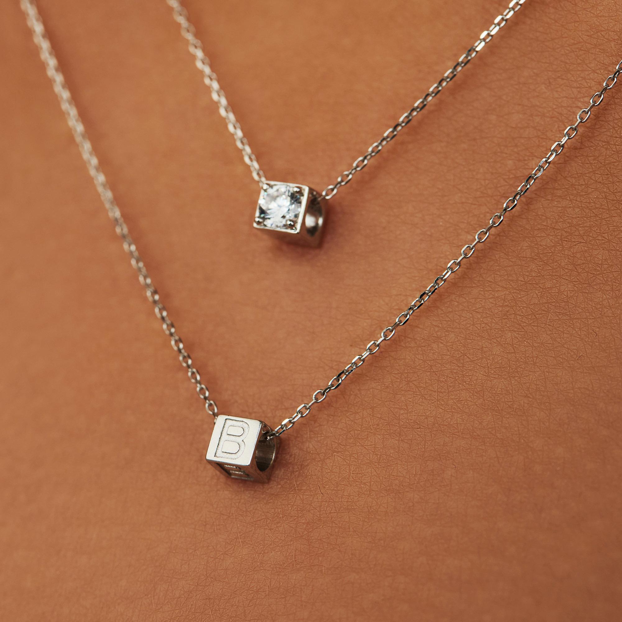 Isabel Bernard Saint Germain Felie 14 karat white gold cube charm with heart