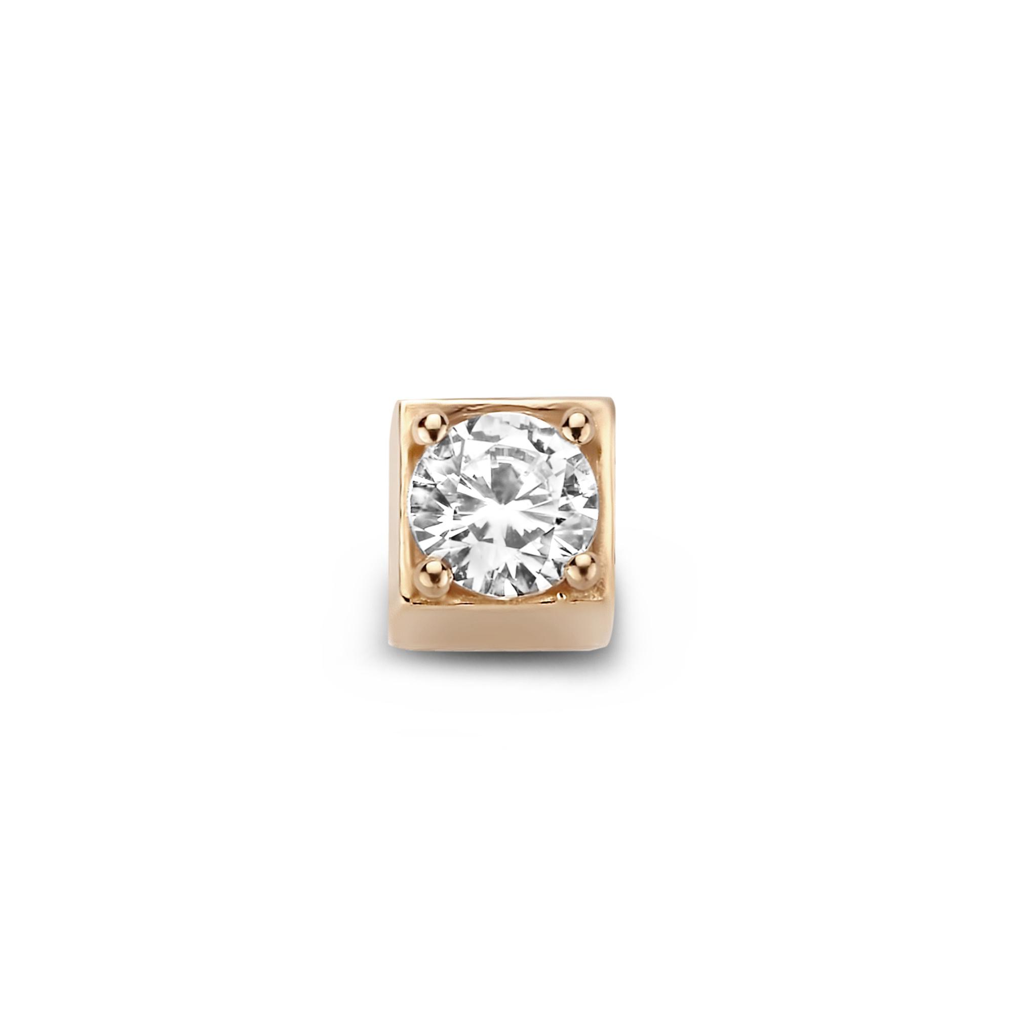 Isabel Bernard La Concorde Felie 14 karaat rosé gouden kubus bedel met zirkonia