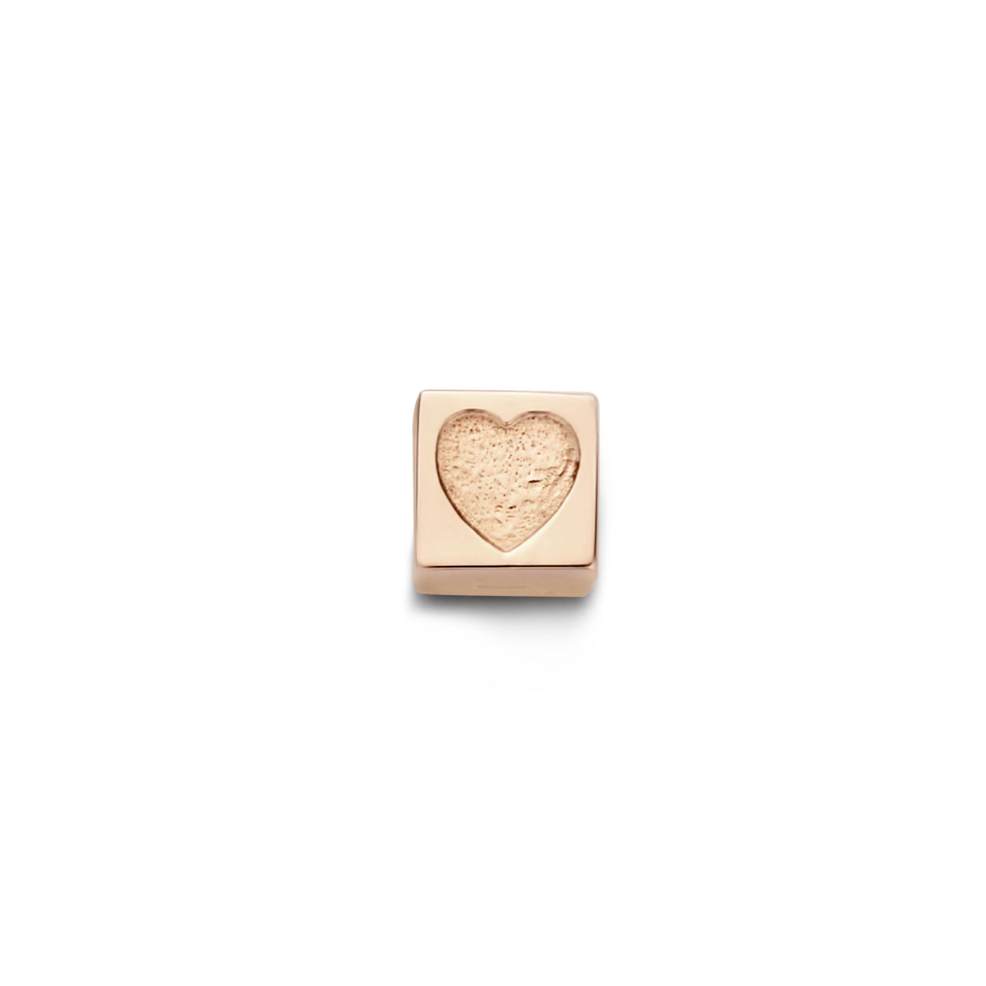 Isabel Bernard La Concorde Felie 14 karat rose gold cube charm with heart