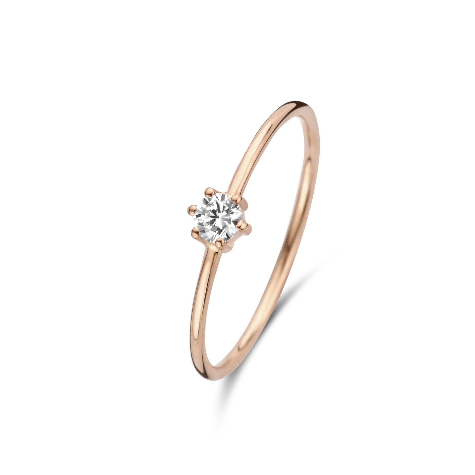 Isabel Bernard La Concorde Abelle 14 karaat rosé gouden ring met zirkonia