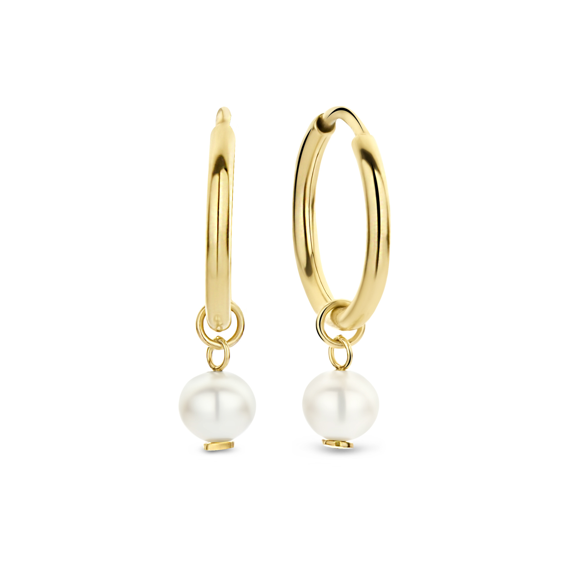 Isabel Bernard Belleville Luna 14 karat gold hoop earrings with freshwater pearl