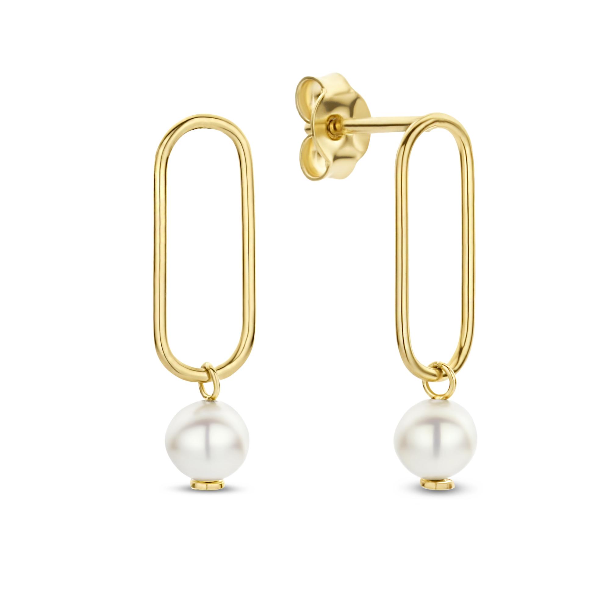 Isabel Bernard Belleville Luna 14 karat gold ear studs with freshwater pearl