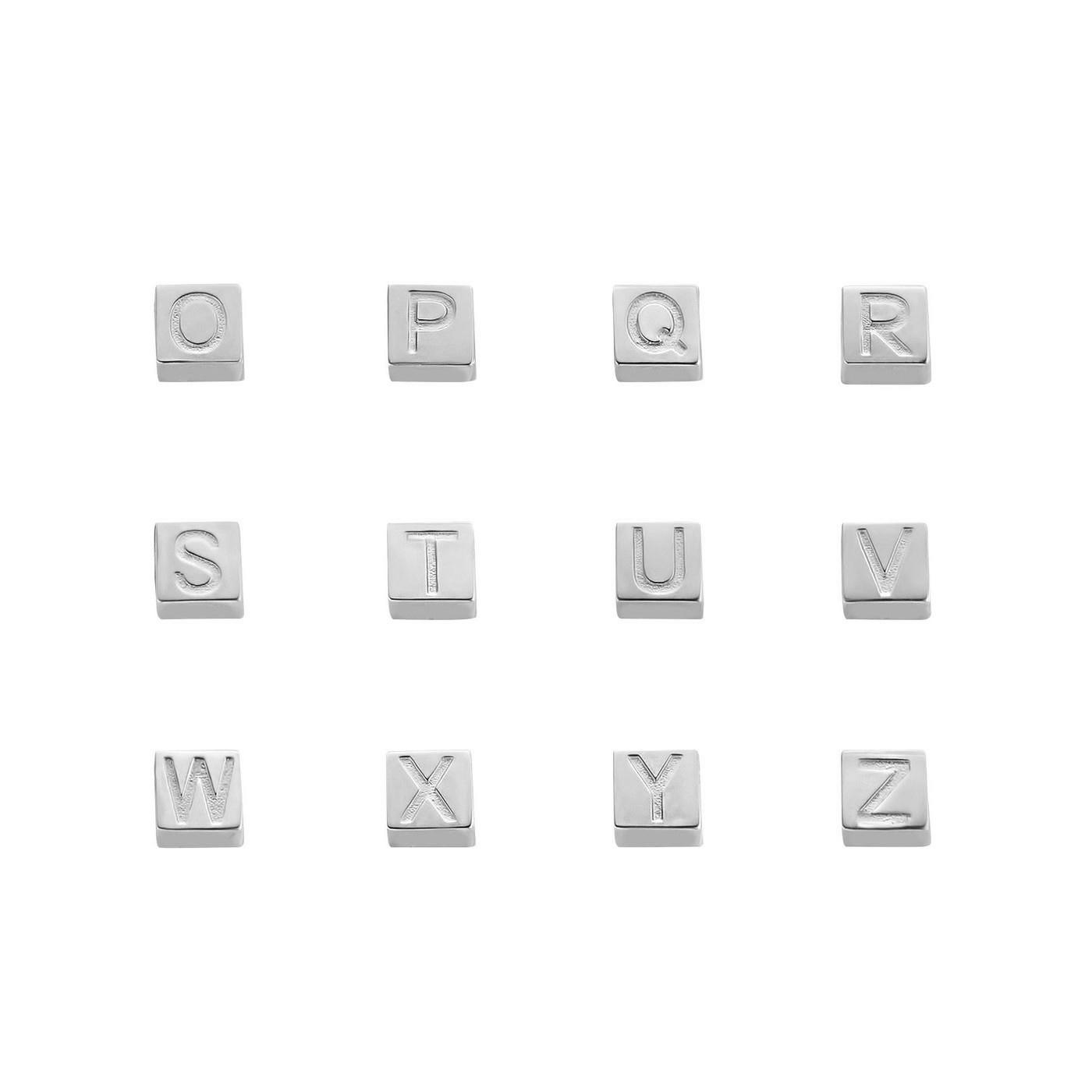 Isabel Bernard Saint Germain Felie 14 karaat witgouden kubus initial bedel met letter