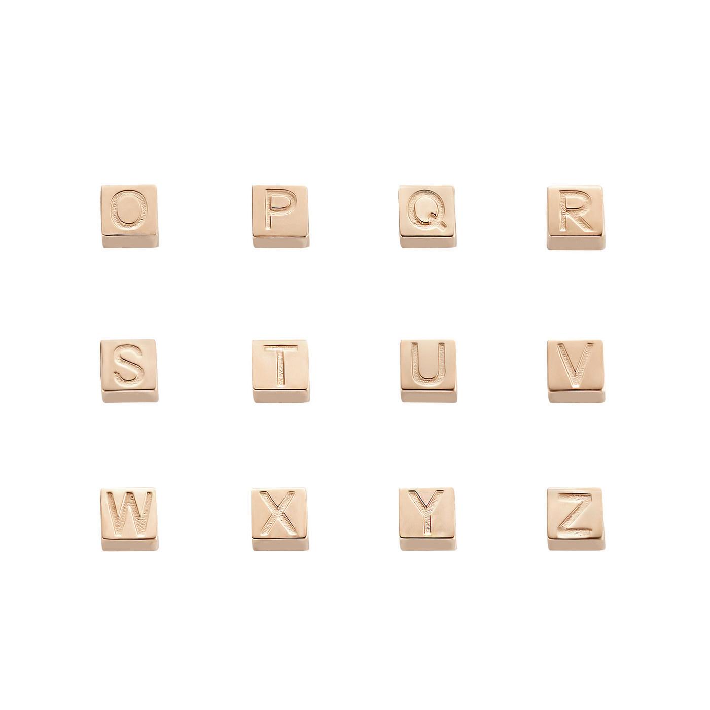 Isabel Bernard La Concorde Felie 14 karaat rosé gouden kubus initial bedel met letter