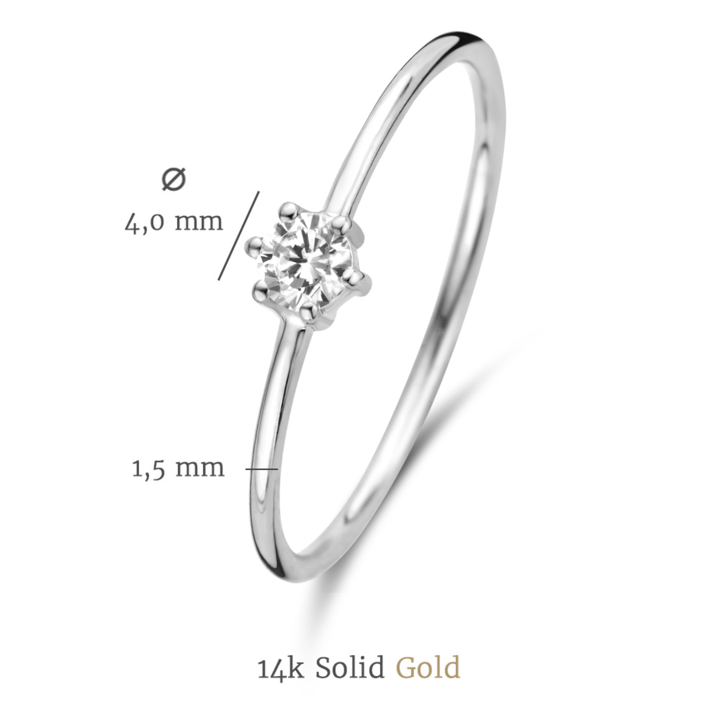 Isabel Bernard Saint Germain Abelle 14 karat white gold ring with zirconia
