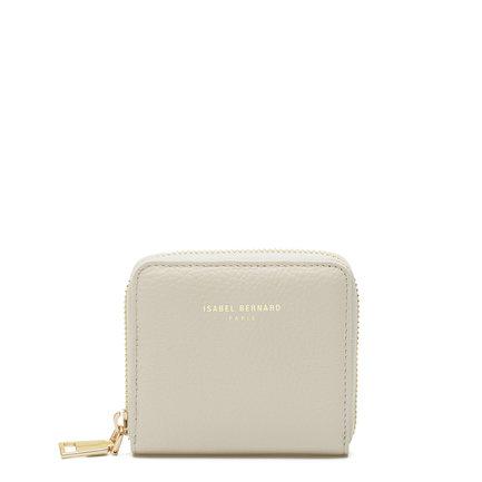 Isabel Bernard Honoré Jules beige läder plånbok med dragkedja av kalvskinn