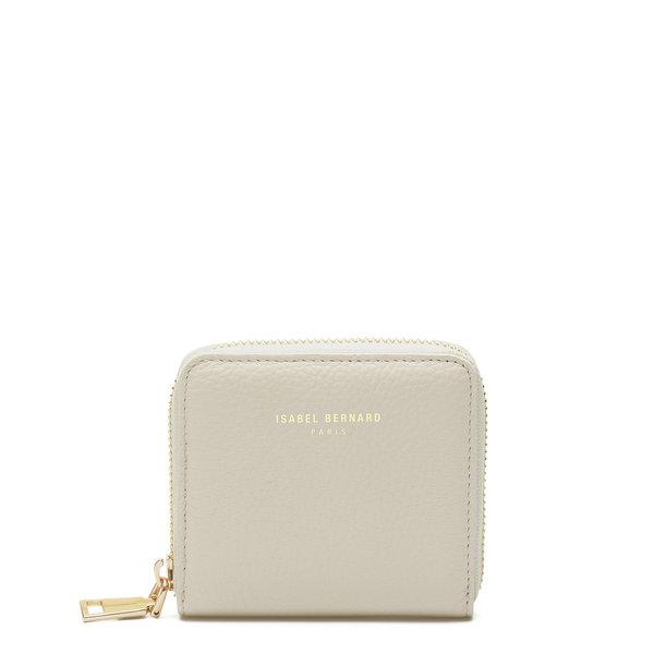 Isabel Bernard Honoré Jules beige calfskin leather zipper wallet