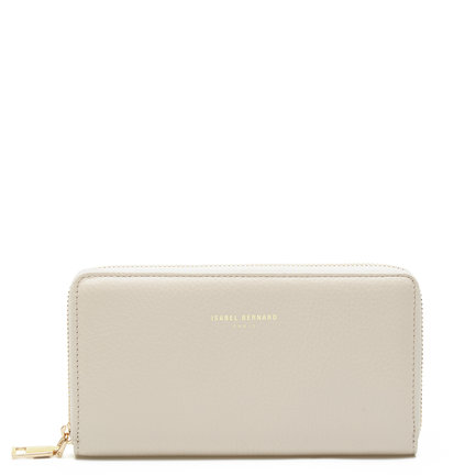 Isabel Bernard Honoré Léa beige läder plånbok med dragkedja av kalvskinn